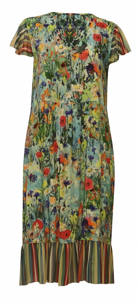 Maloka: Beauty Blooms Contrast Hem Flare Dress