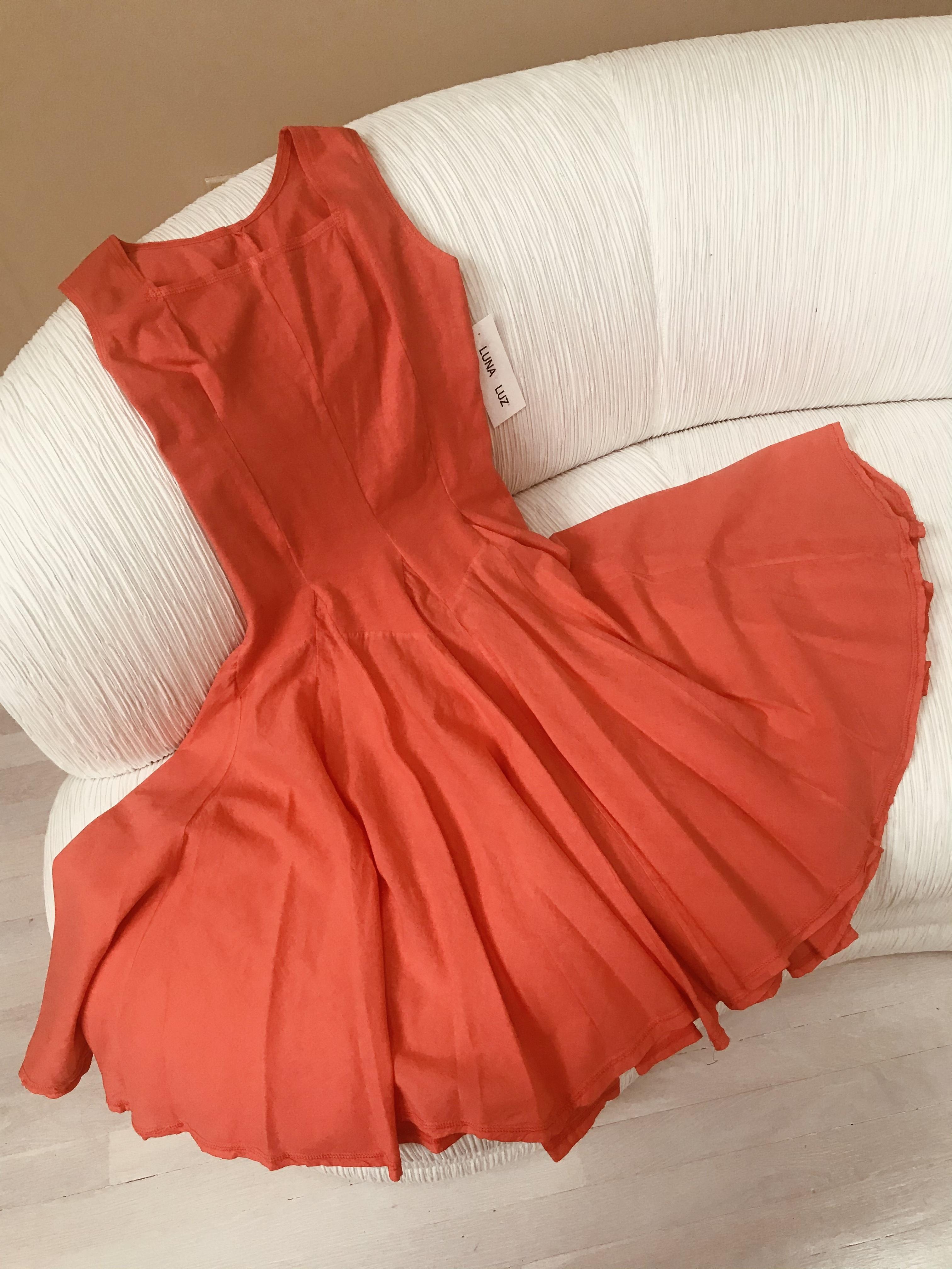 Luna Luz: Godet Dyed Square Neck Dress (Ships Immed in Zest, 1 Left in Medium!)
