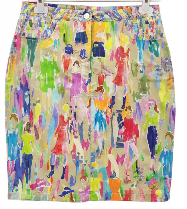 Paul Brial: Can you see the Women In Neon Cold Shoulder Abstract Art Mini Skirt (2 Left!) PB_MONACO