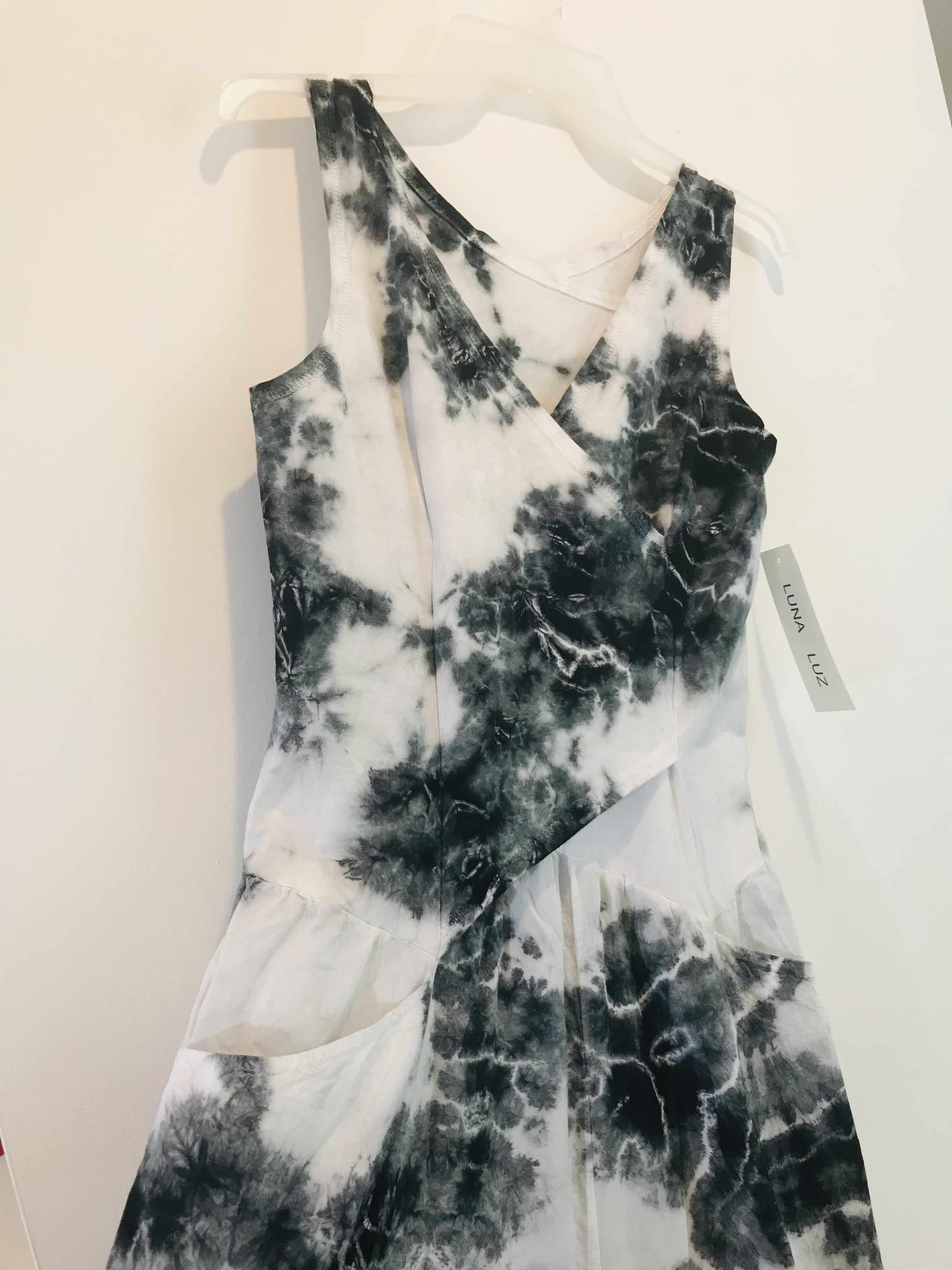 Luna Luz: Cross Over Botanical Bodice Tie Dye Long Dress (Ships Immed, 2 Left!) LL_516_BLACK_BOTANICAL