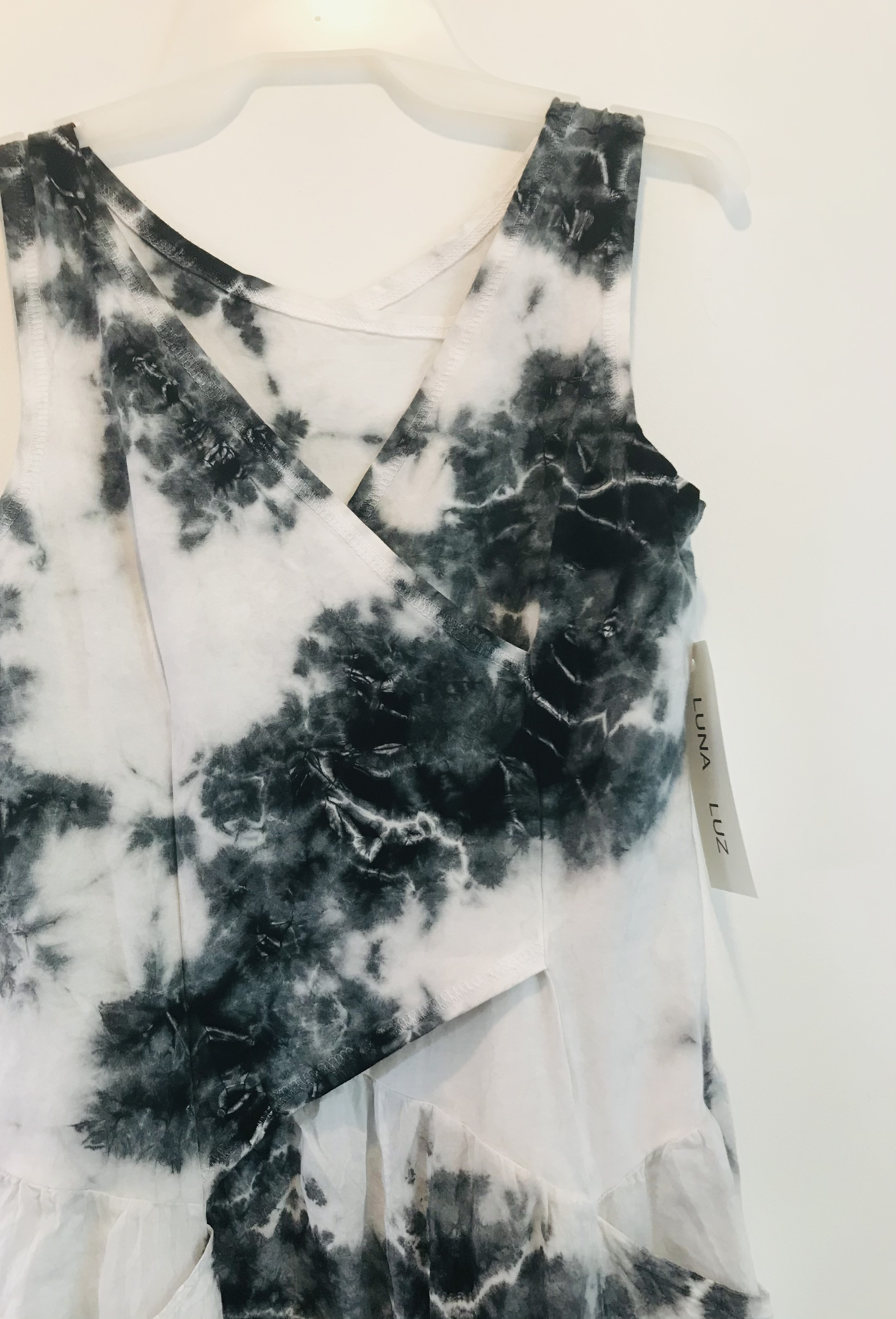 Luna Luz: Cross Over Botanical Bodice Tie Dye Long Dress (Ships Immed, 2 Left!)