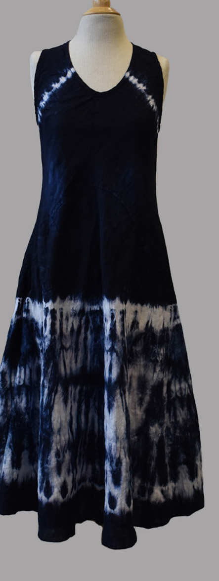 Luna Luz: Ribbed Linen A-Line Tie Dye Midi Dress (Ships Immed in Inkwell!) LL_769T_INKWELL