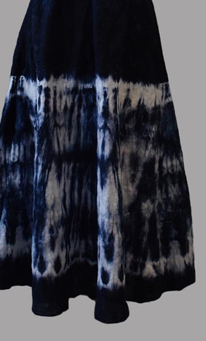 Luna Luz: Ribbed Linen A-Line Tie Dye Midi Dress (Ships Immed in Inkwell!)