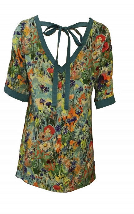 Maloka: Beauty Blooms Contrast Tie Back T-Shirt