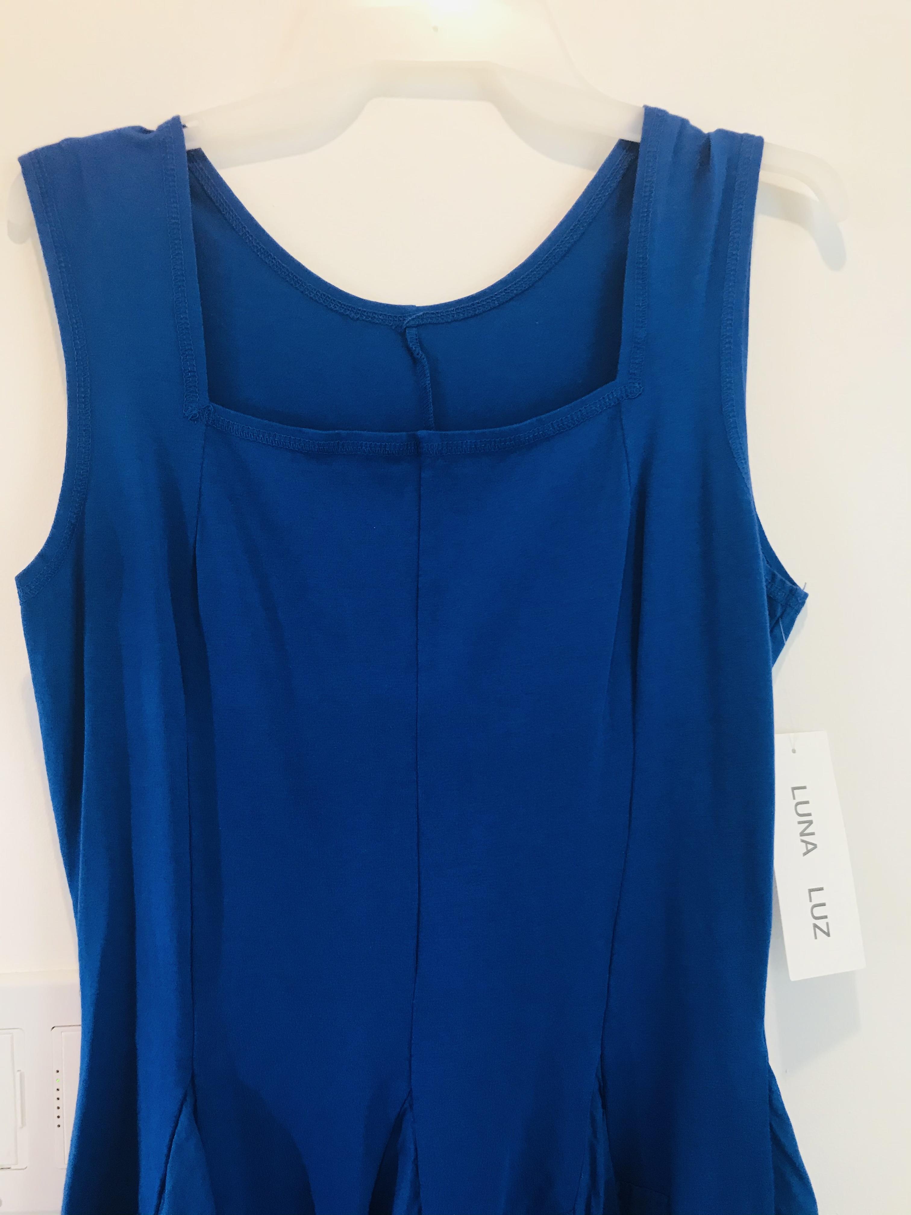 Luna Luz: Godet Dyed Square Neck Dress (Ships Immed in Electric Blue, 1 Left!)