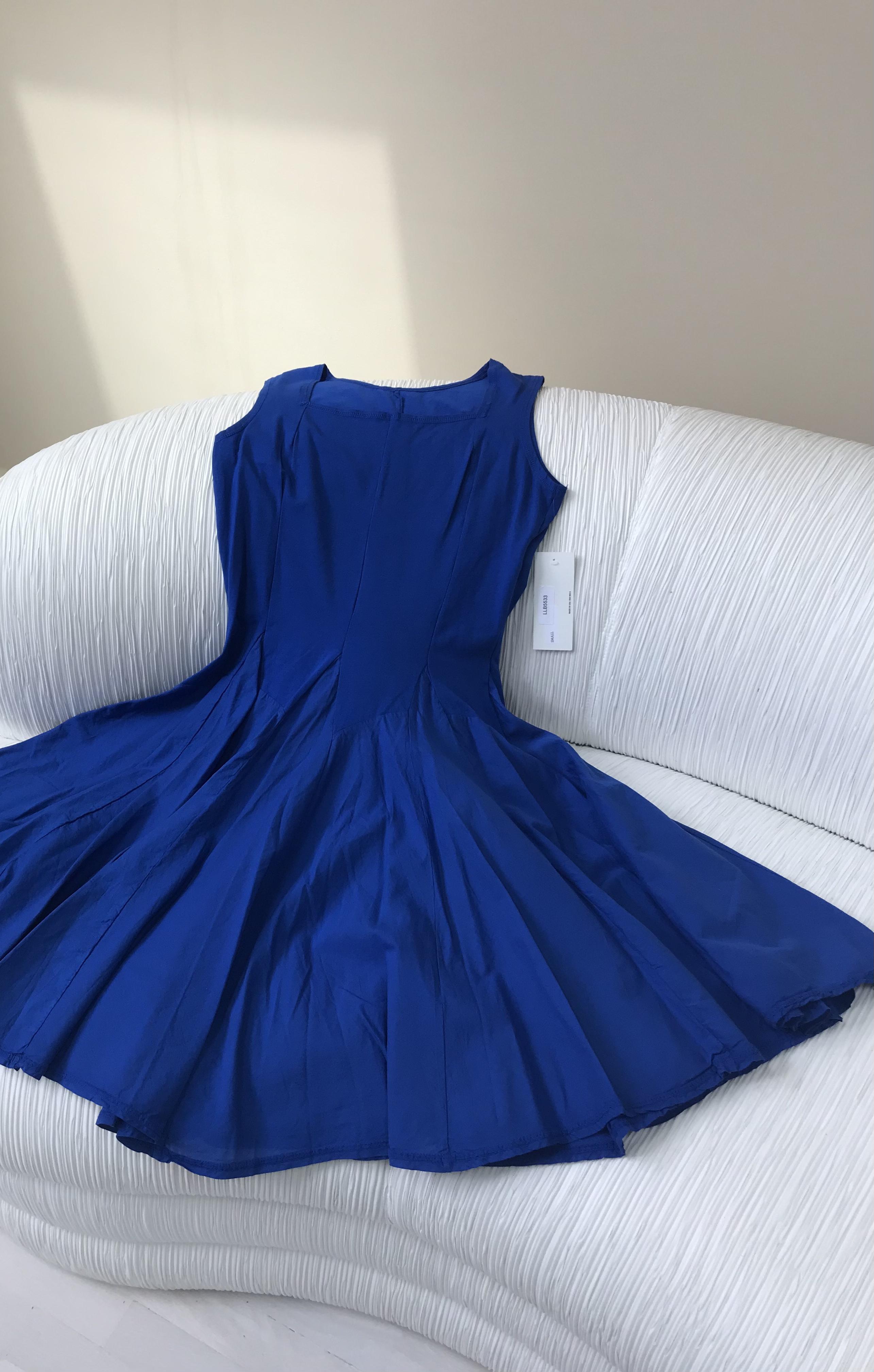 Luna Luz: Godet Dyed Square Neck Dress (Ships Immed in Electric Blue, 1 Left!) LL_5533_ELECTRIC_BLUE