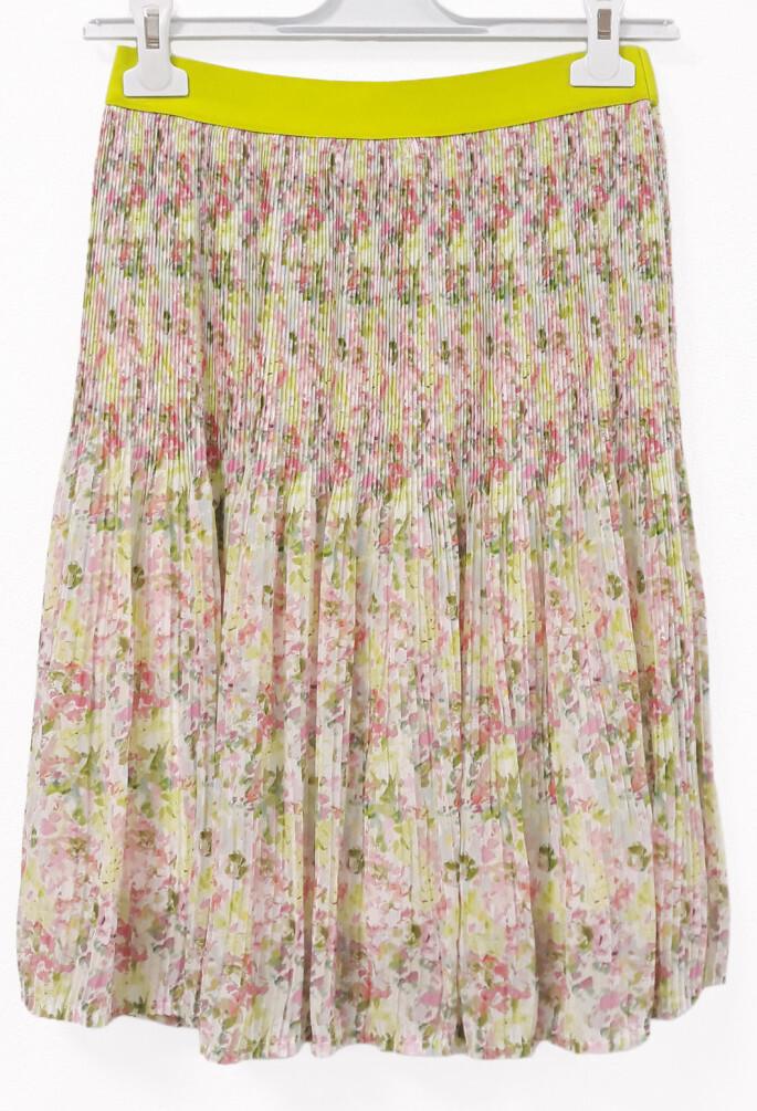 Paul Brial: Spring Is In The Air Pleated Art Midi Skirt