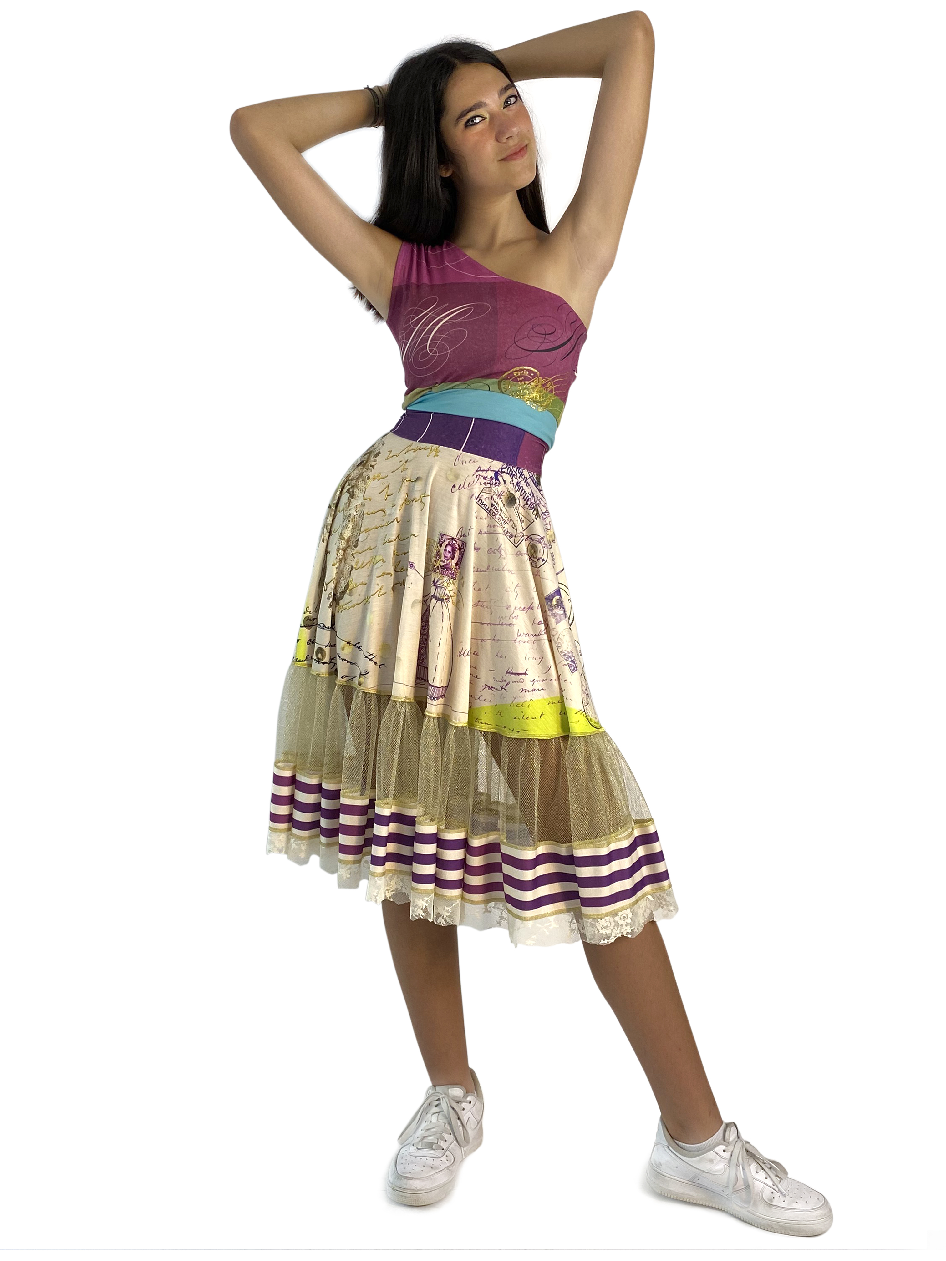 IPNG: If I Was Dancing In Paris Illusion Flared Midi Skirt (Some Ship Immed!) IPNG_IIFSKS-006