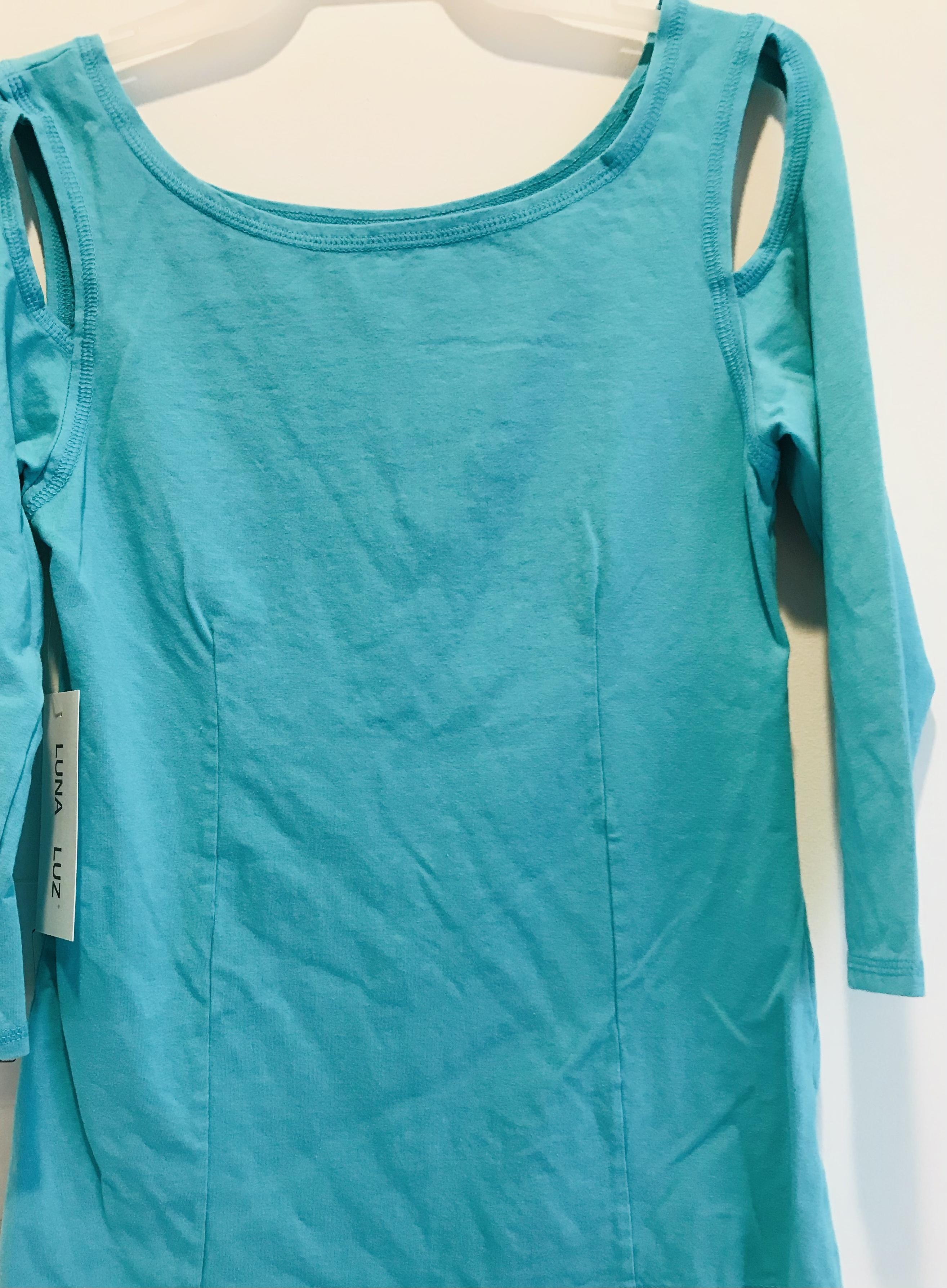 Luna Luz: Open Sleeve Cotton Top (Ships Immed in Angel Blue!)