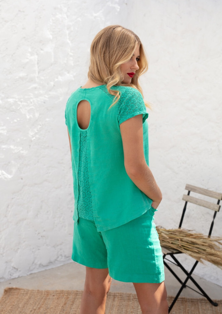 Maloka: Crocheted Split Flared Linen Top (More Colors!) MK_ABRIA