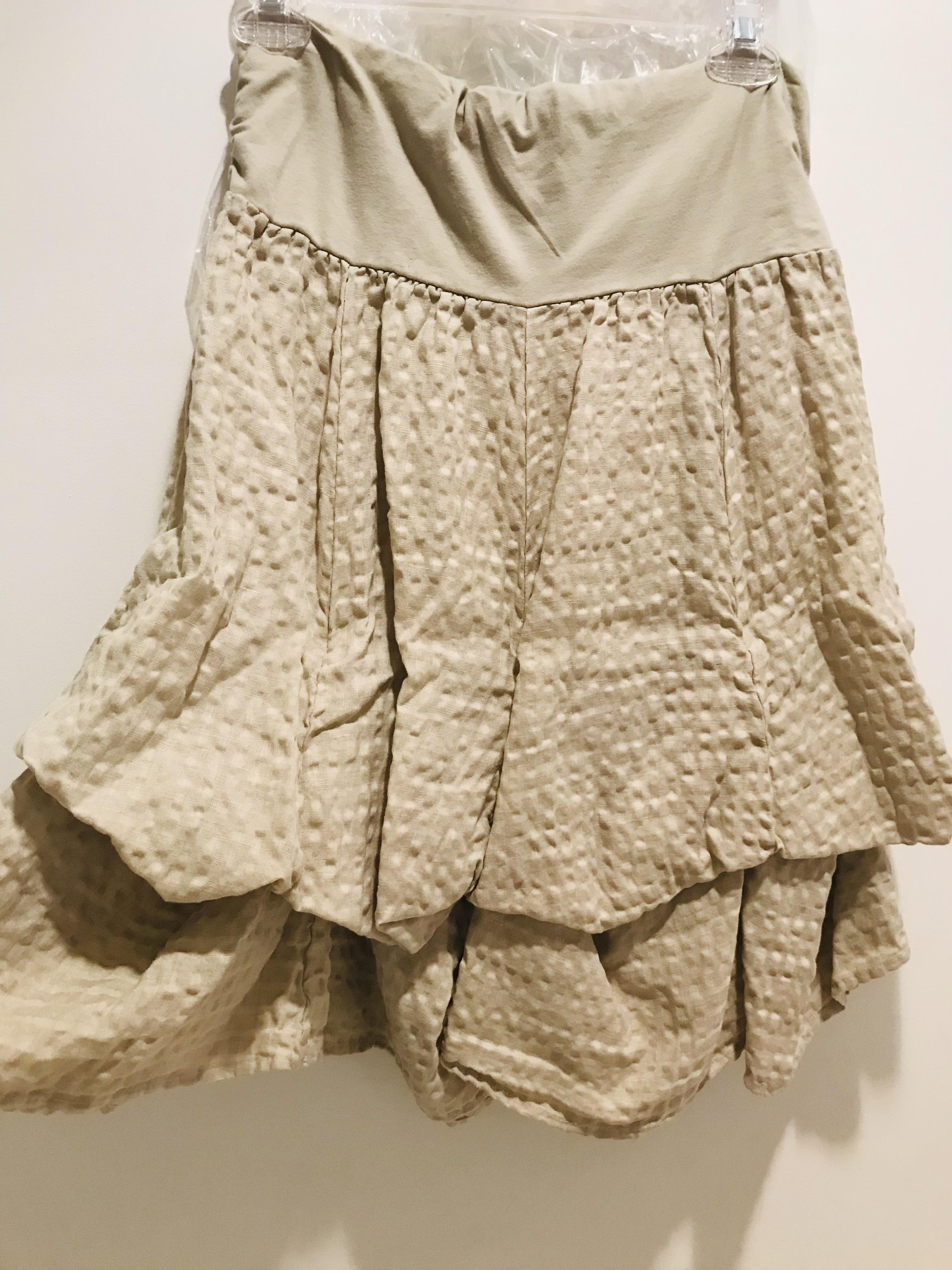 Luna Luz: Tied & Dyed Seersucker Cotton Skirt (In Khaki, Ships Immed!)