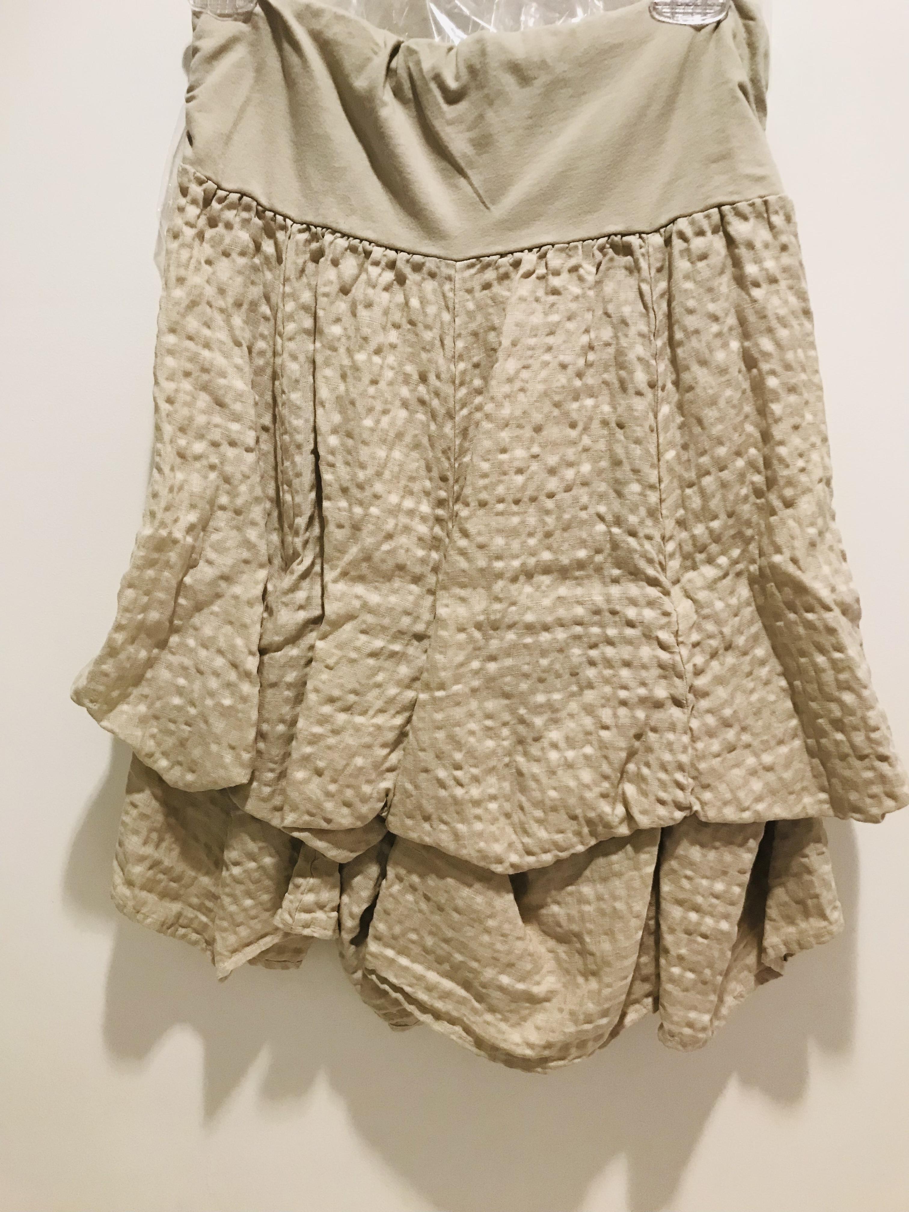 Luna Luz: Tied & Dyed Seersucker Cotton Skirt (In Khaki, Ships Immed!) LL_S501_KHAKI