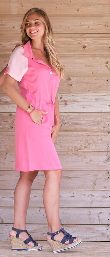 Paul Brial: Pink Pull Tie Colorblock Cotton Dress