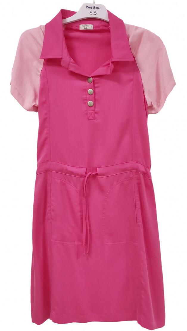 Paul Brial: Pink Pull Tie Colorblock Cotton Dress PB_LOLA