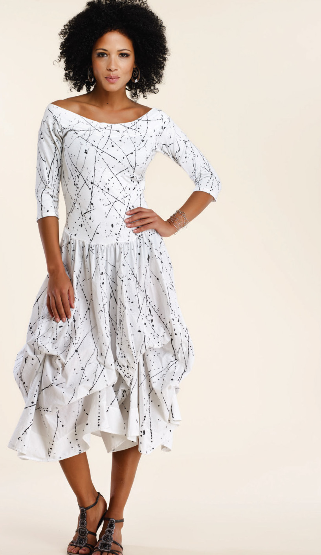 Luna Luz: Jackson Pollack Tied & Dyed Godet Dress (Ships Immed, New in White Jackson Pollock!) LL_393T_WHITE_JP