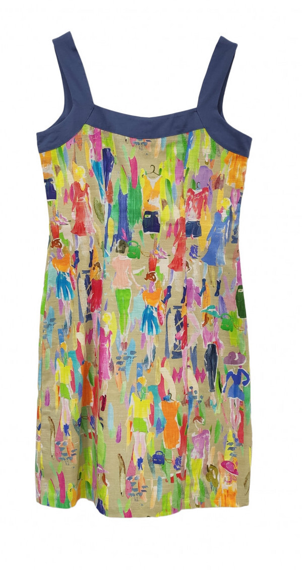 Paul Brial: Can you see the Women In Neon Linen/Cotton Dress