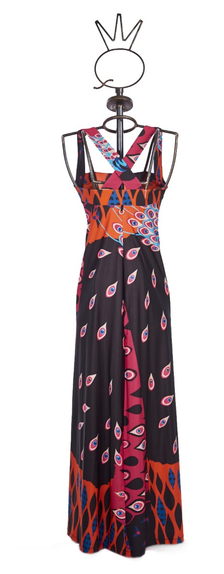 Save The Queen: Pink Peacock Afropavo Maxi Dress
