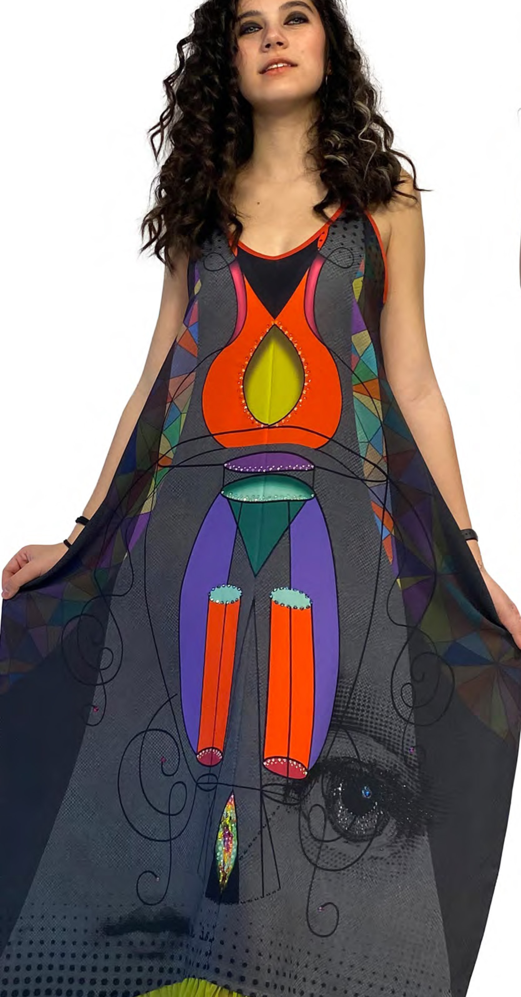 IPNG: Art Is My Body In Rhythm Illusion V-neck Flared Dress