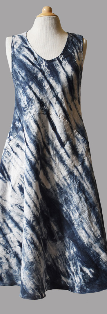 Luna Luz: Ribbed Linen A-Line Tie Dye Midi Dress (Ships Immed in Biscotti, all sizes!) LL_769T_BISCOTTI_NEW