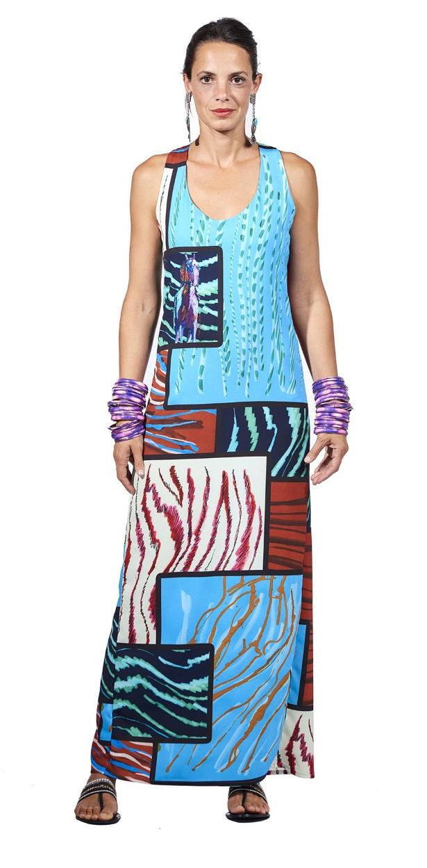 Save The Queen: Purple Unicorn Crepe Printed Maxi Dress SQ_4163