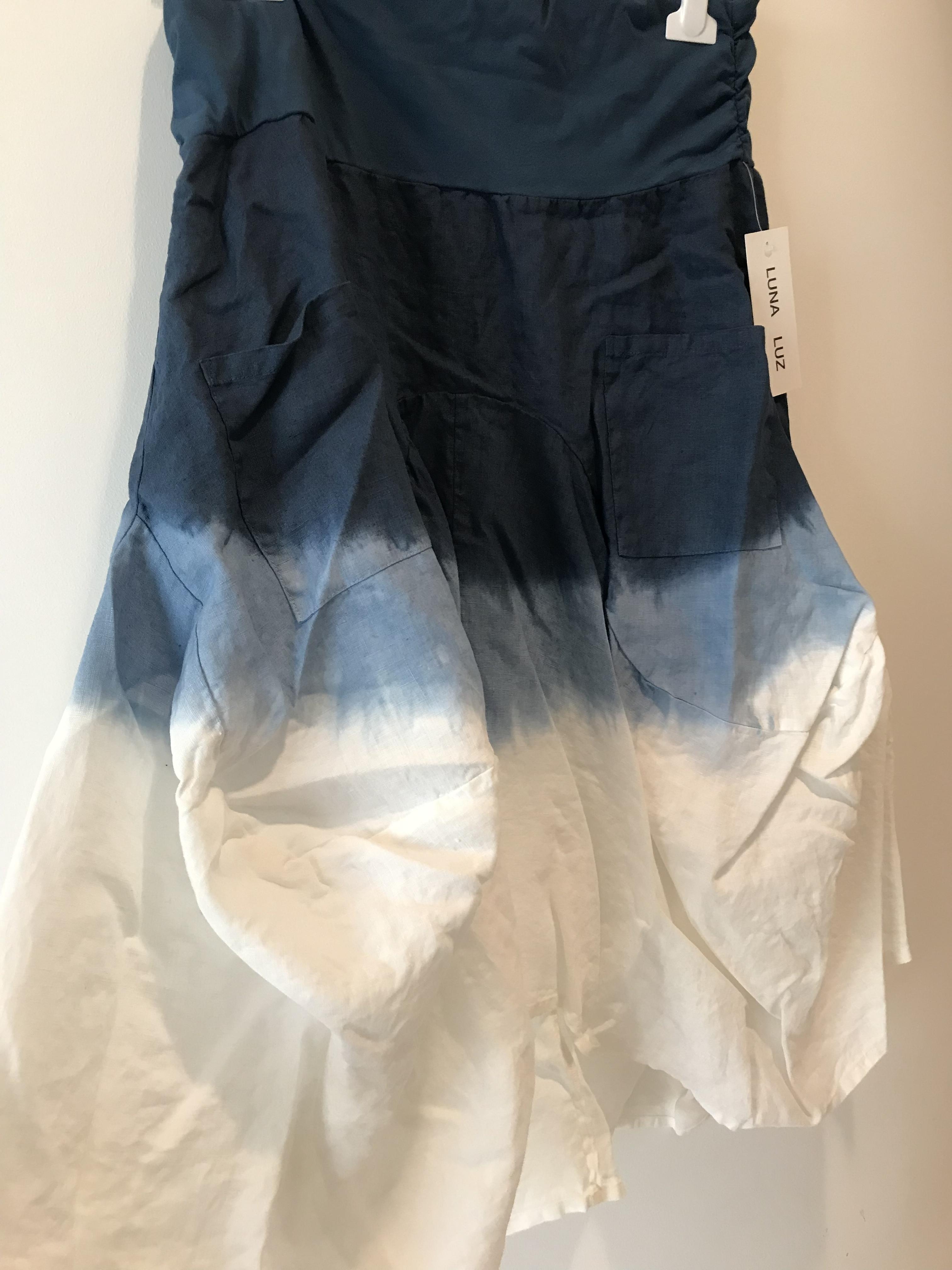 Luna Luz: Swivel Hemline Linen Midi Pocket Skirt With Ties (Ships Immed in Navy Ombre, 1 Left!) LL_734T_Navy_Ombre