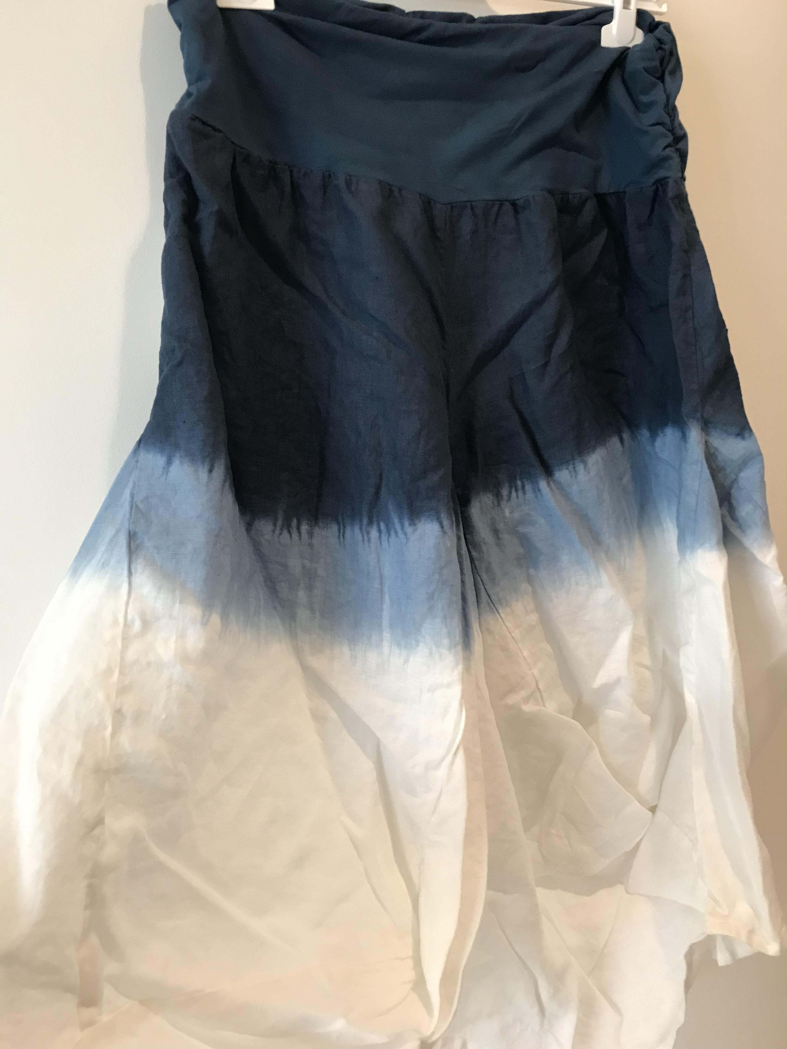 Luna Luz: Swivel Hemline Linen Midi Pocket Skirt With Ties (Ships Immed in Navy Ombre, 1 Left!)