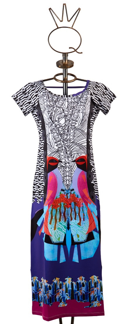 Save The Queen: Pink Parrot Art Midi Cover Up Sundress (1 Left!) STQ_SNH460
