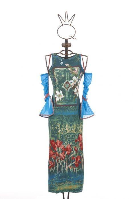 Save The Queen Italy: Monet Garden With Tulip Sleeves Maxi Dress STQ_GARDEN_MONET