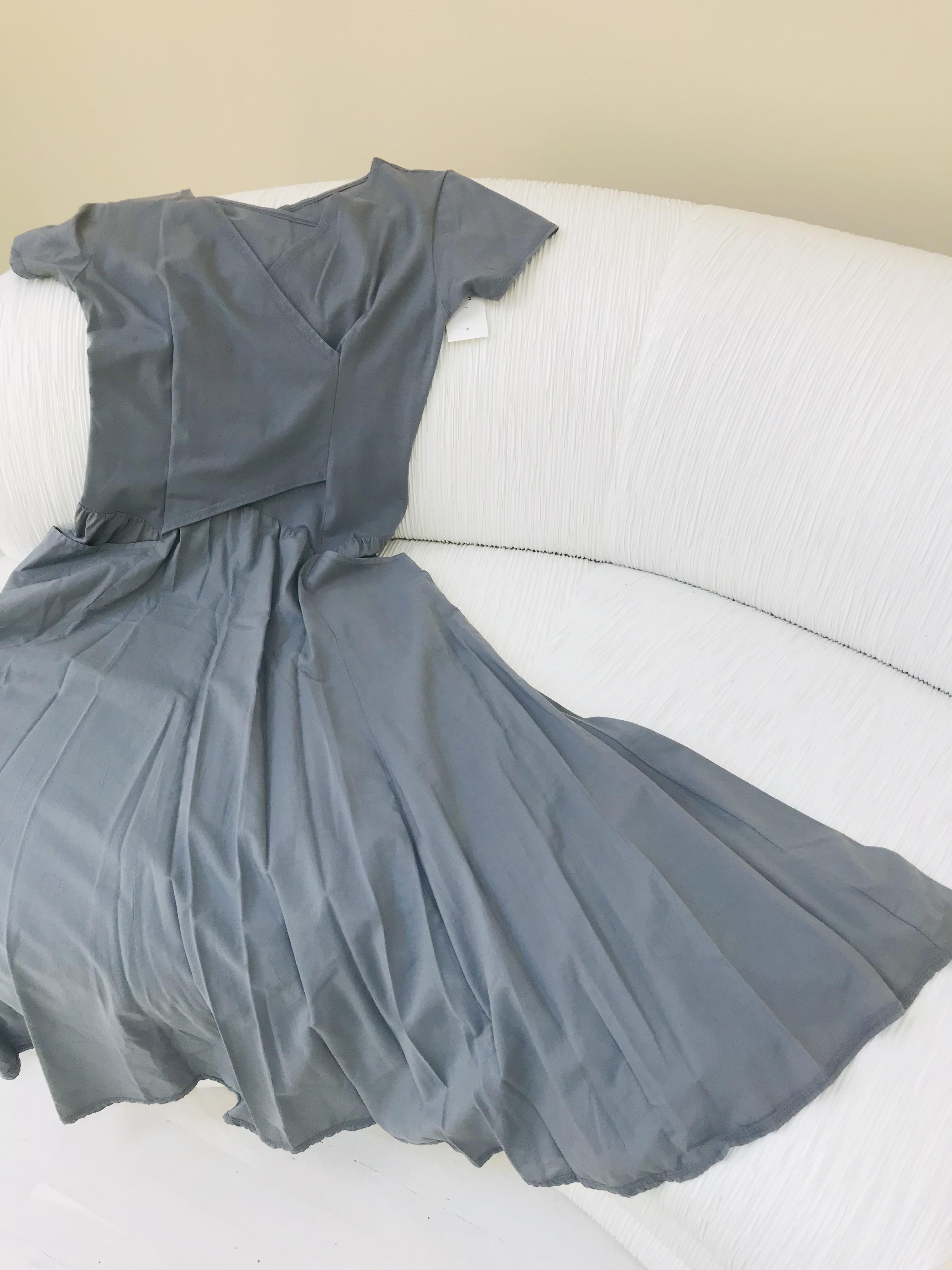 Luna Luz: Short Sleeve Cross Over Bodice Long Dress (Ships Immed in Slate, 1 Left!)