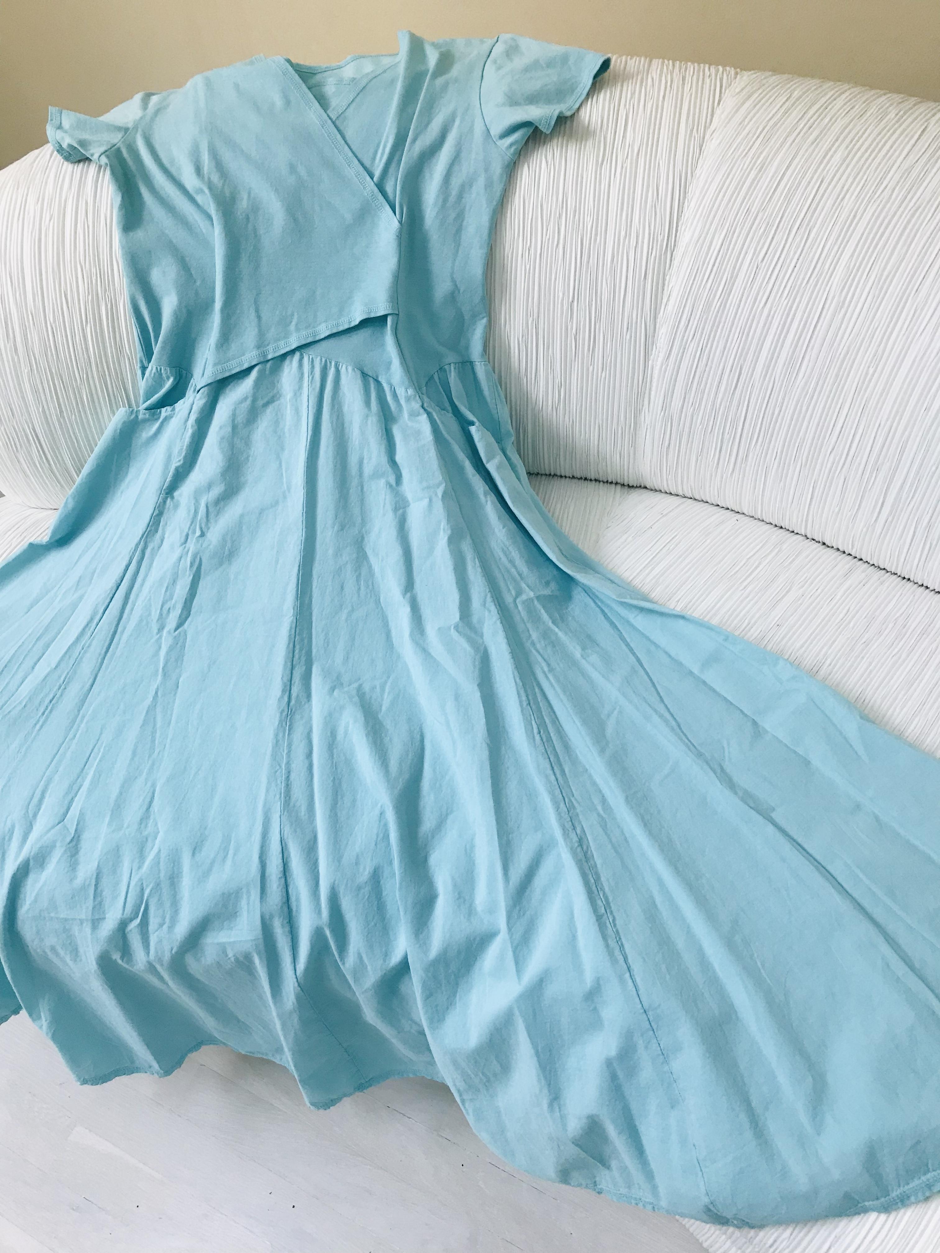 Luna Luz: Short Sleeve Cross Over Bodice Long Dress (Ships Immed in Angel Blue, 2 Left!) LL_518_Angel_Blue