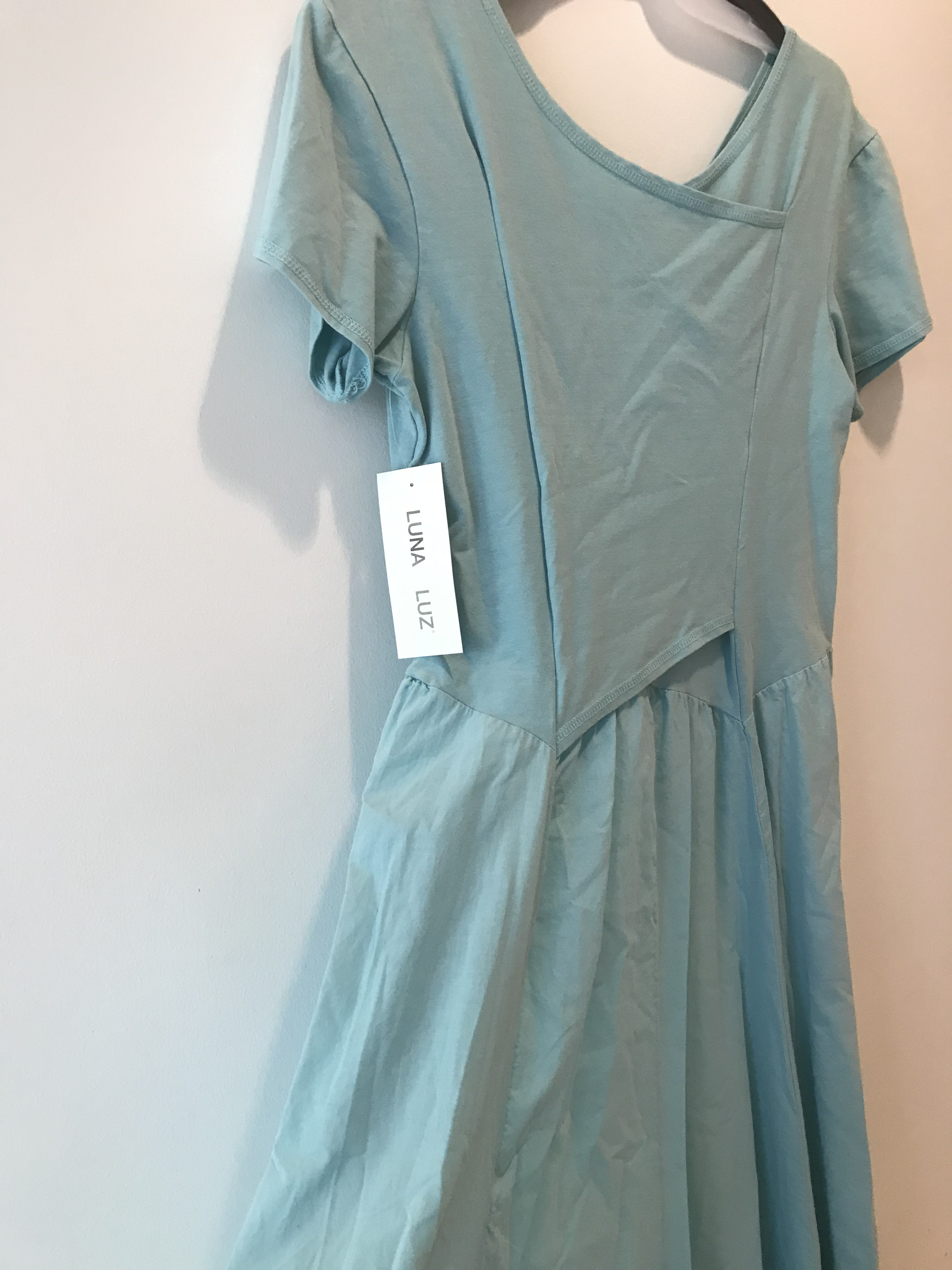 Luna Luz: Short Sleeve Cross Over Bodice Long Dress (Ships Immed in Angel Blue, 2 Left!)