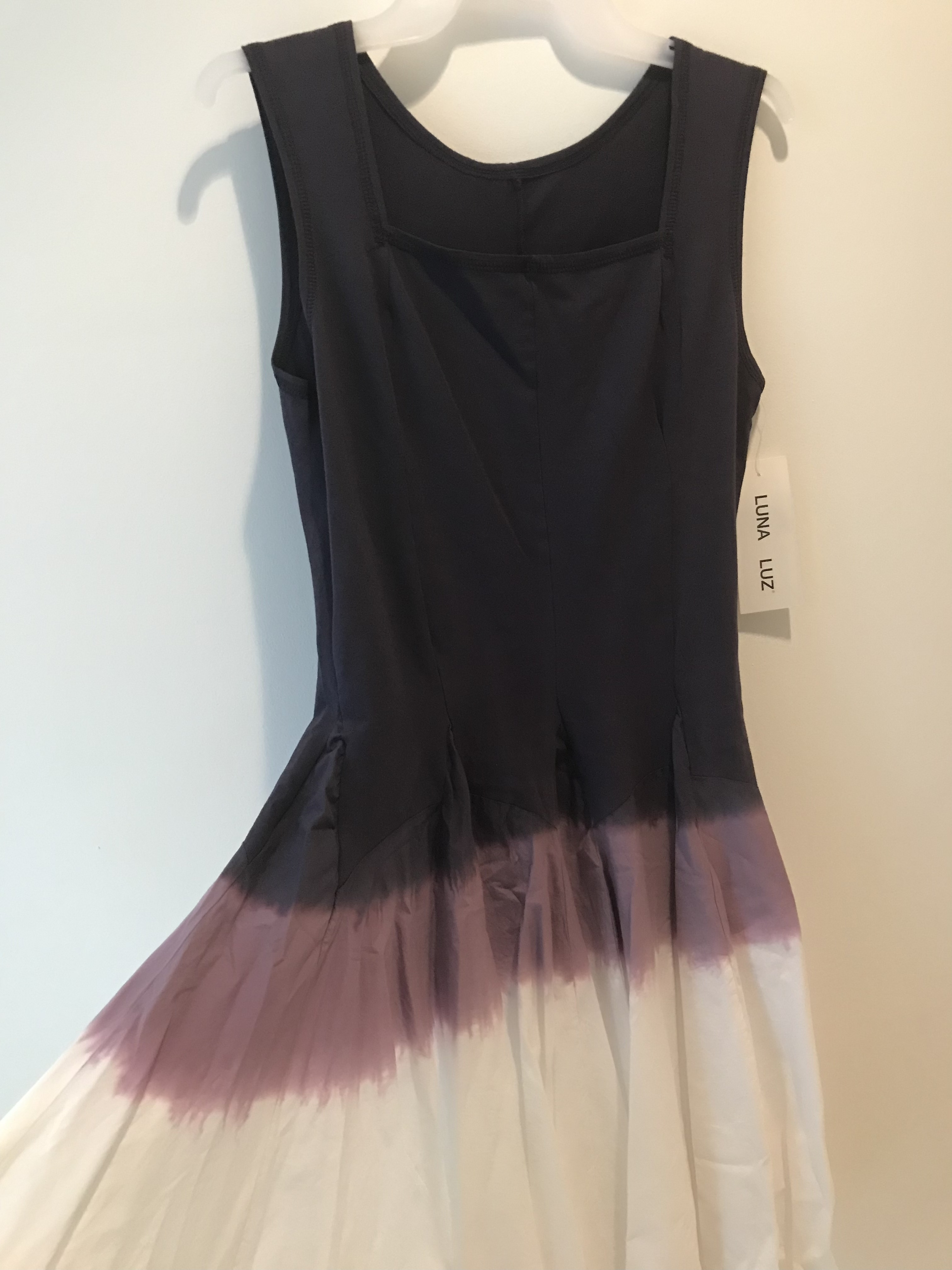 Luna Luz: Square Neck Godet Dyed Tank Dress in Iris Ombre (Ships Immed, 2 Left!)