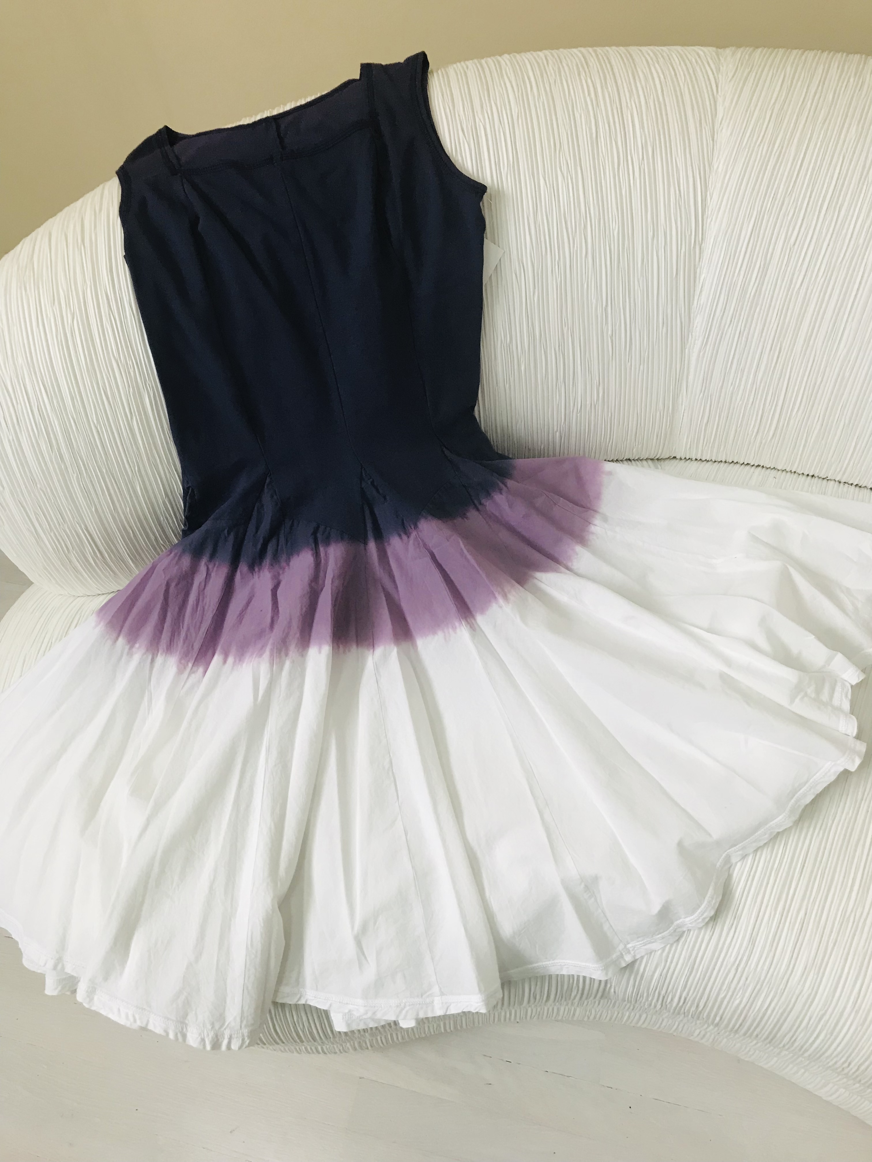 Luna Luz: Square Neck Godet Dyed Tank Dress in Iris Ombre (Ships Immed, 2 Left!) LL_5533_IRIS_OMBRE