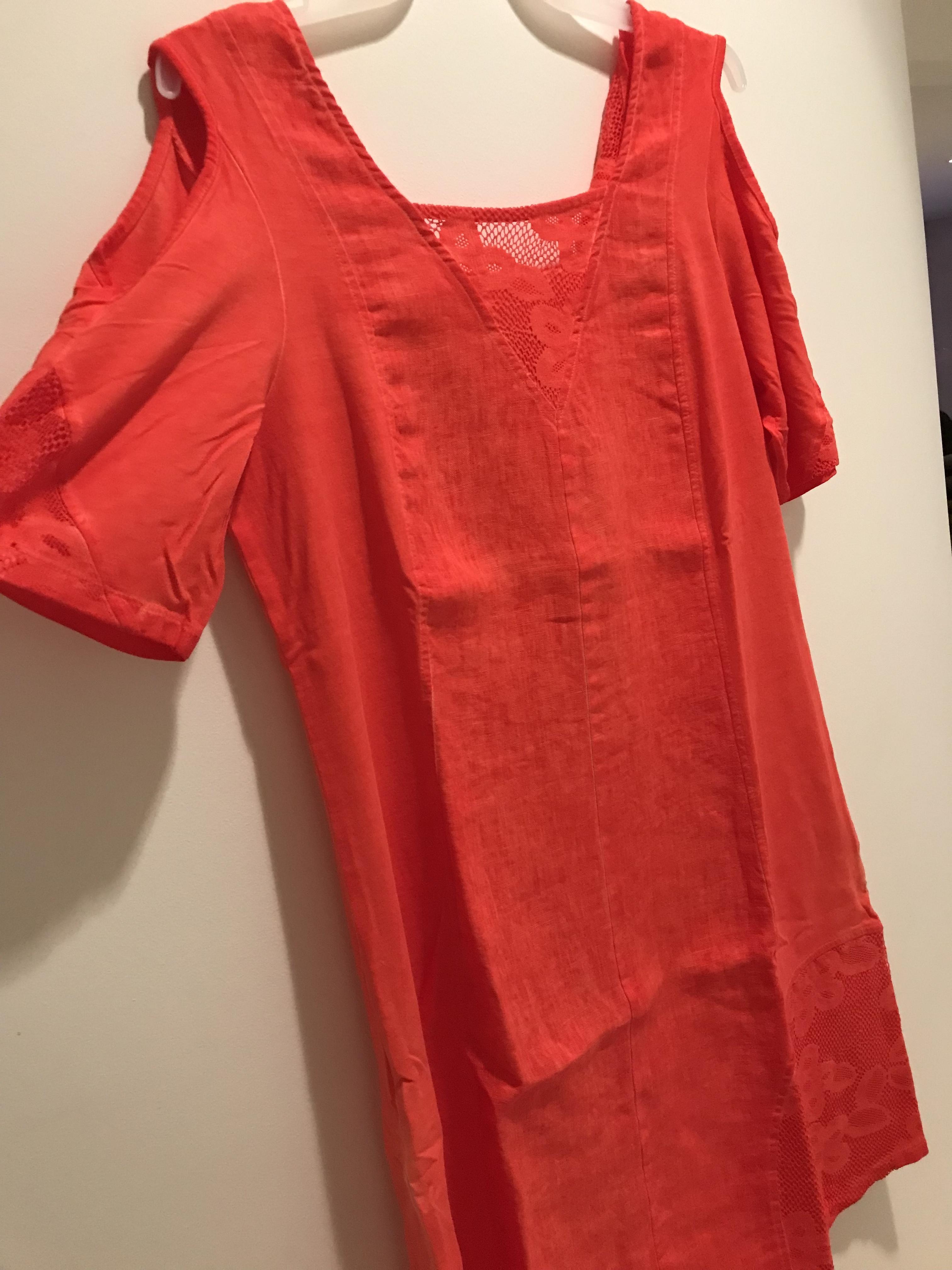 Maloka: Cutout Shoulder Princess Seam Linen Stretch Dress (1 left in Zest) MK_TALLIA_Zest