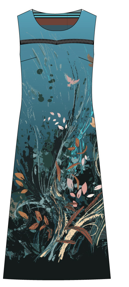 Paul Brial: Underwater Flight Abstract Art Flared Midi Dress (1 Left!)