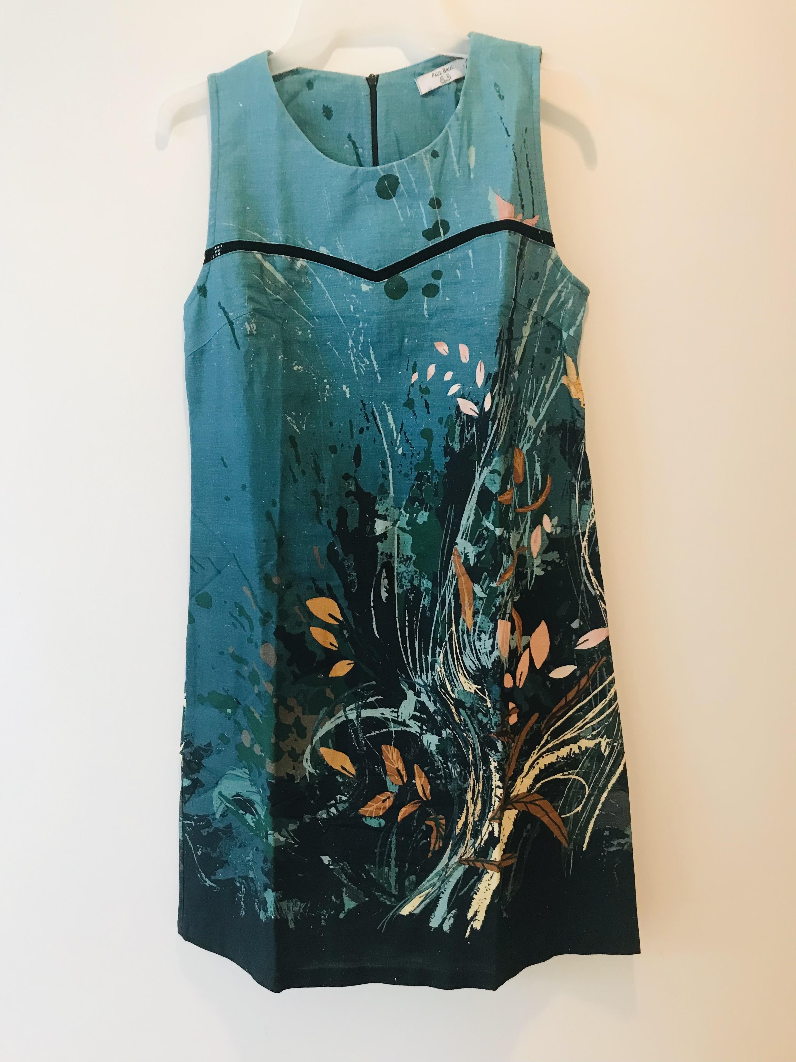 Paul Brial: Underwater Flight Abstract Art Flared Midi Dress (1 Left!) PB_PLUME