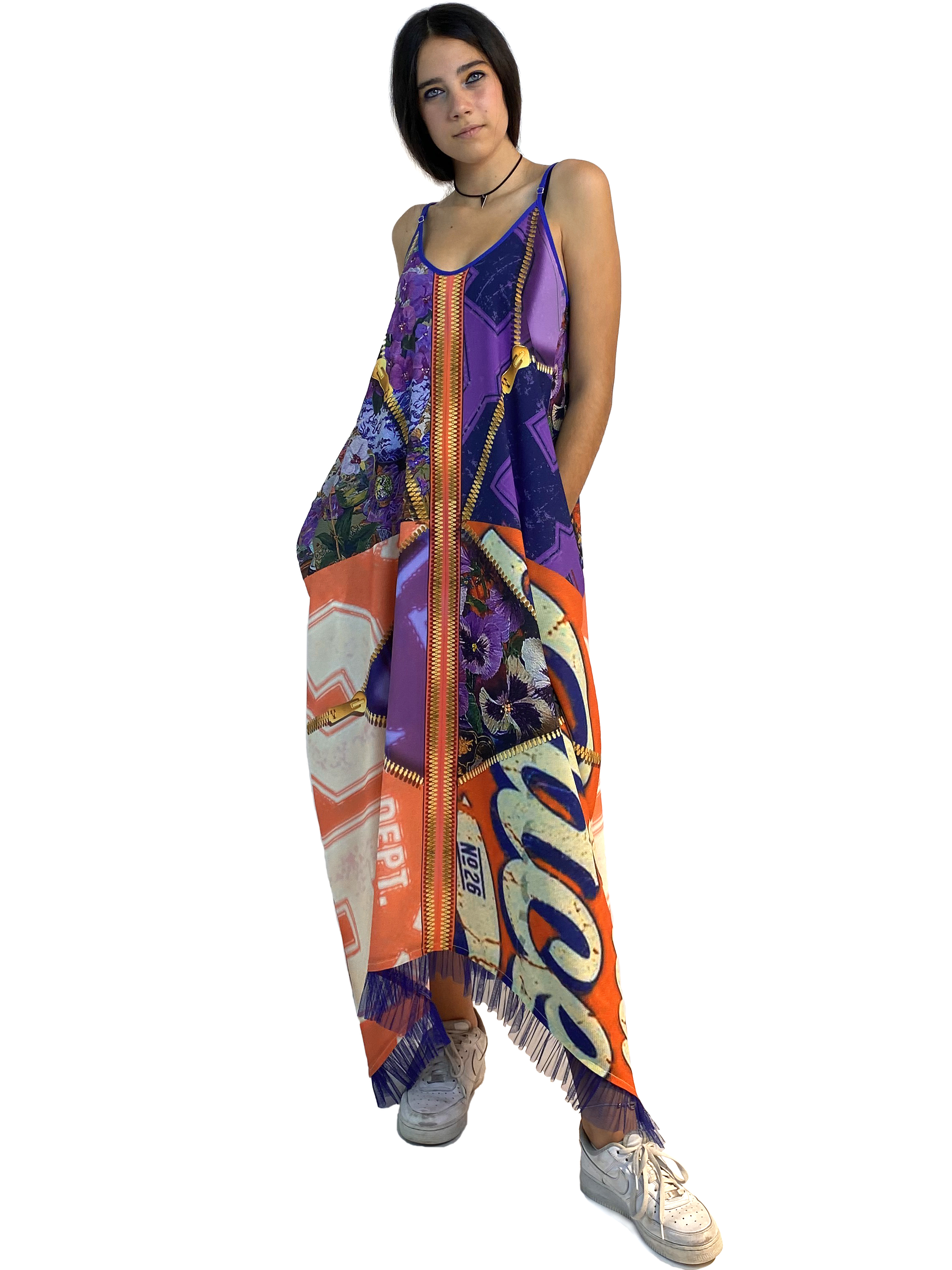 IPNG: Summer In A Flower Illusion Maxi V Pocket Dress