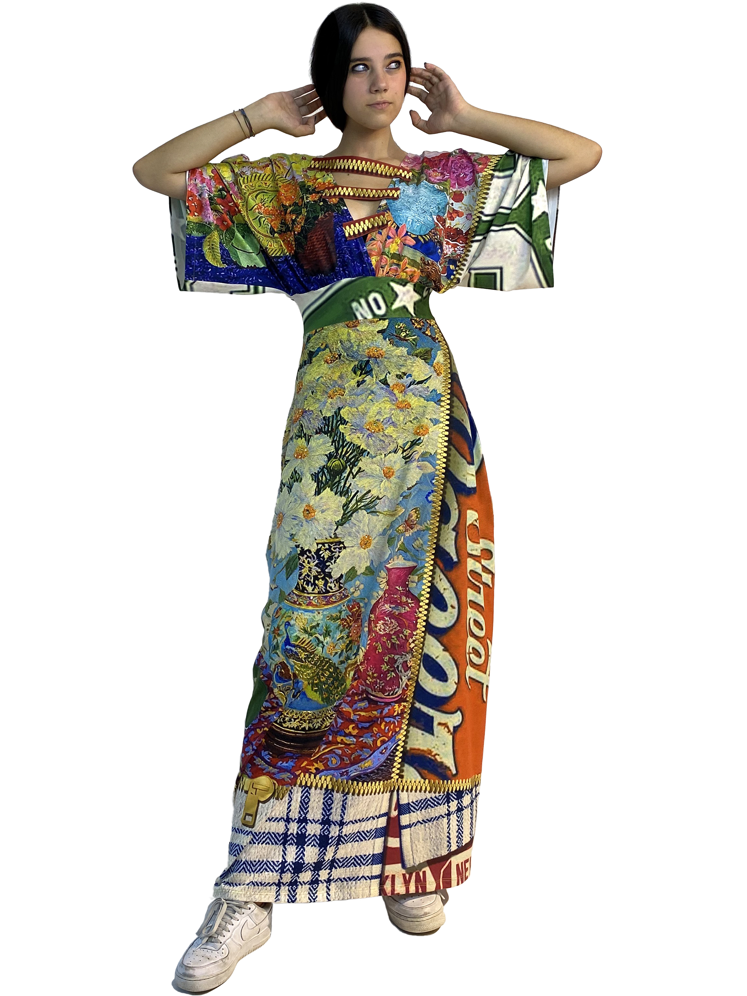 IPNG: Summer In A Flower Illusion Kimono Dress