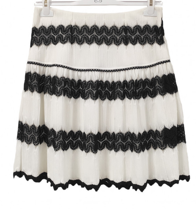 Paul Brial: Black Swan Lace A-line Skirt PB_JUPE_PRIVE