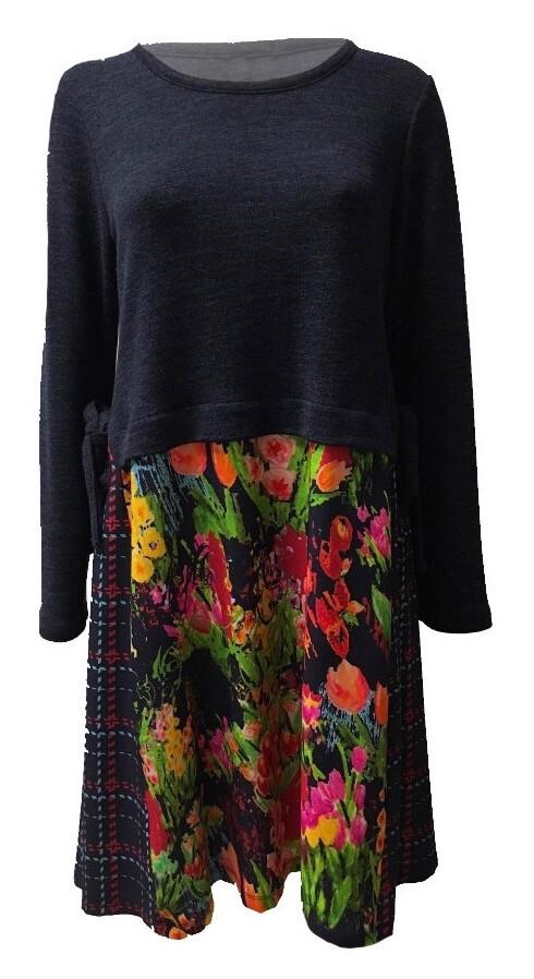 Maloka: Belle Epoque Art Flared Sweater Dress