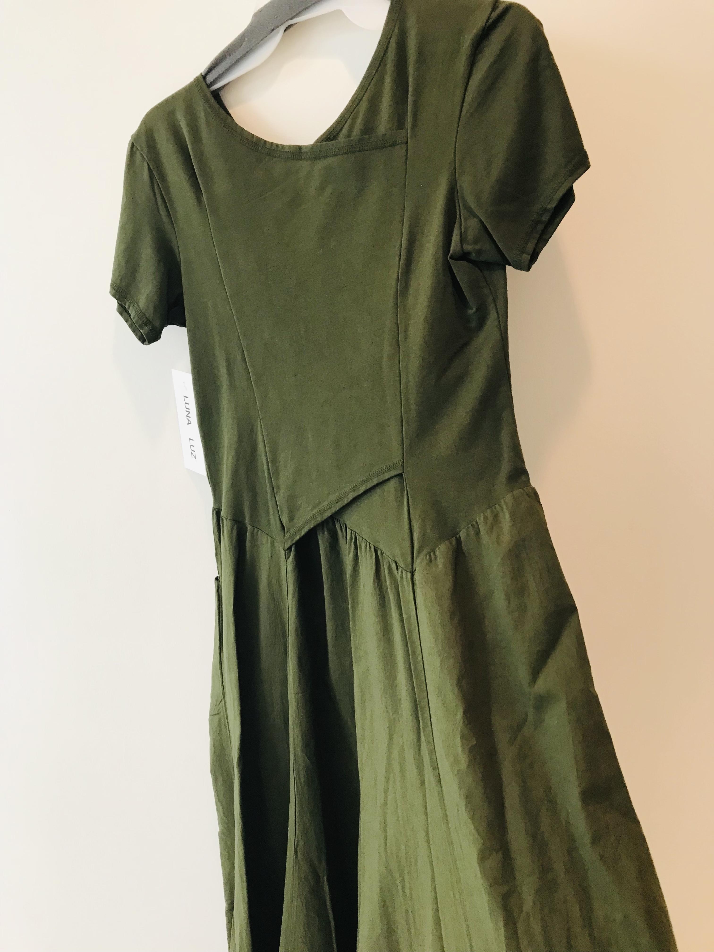 Luna Luz: Short Sleeve Cross Over Bodice Long Dress (More Arriving: NEW Fall Color - Olive!)
