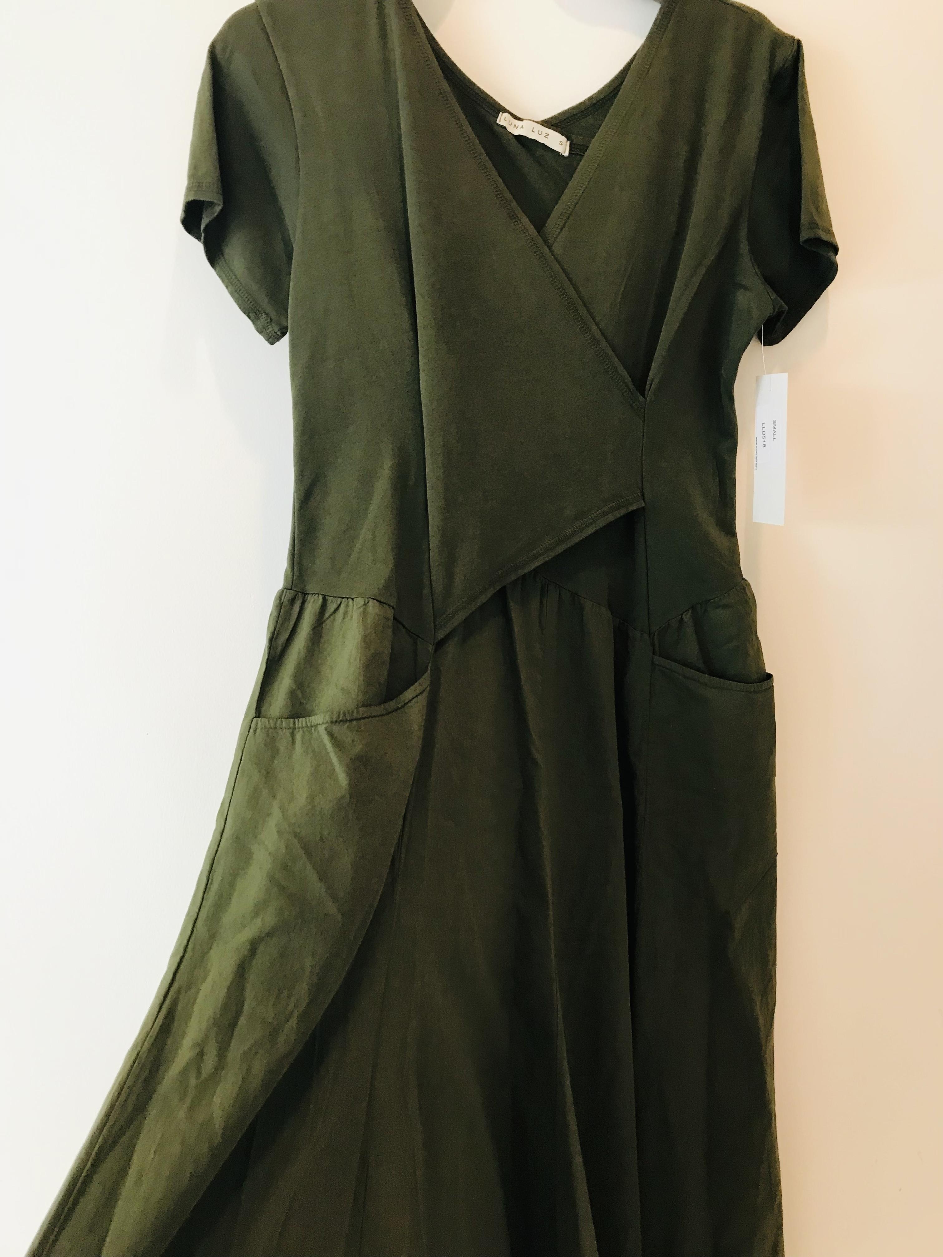 Luna Luz: Short Sleeve Cross Over Bodice Long Dress (More Arriving: NEW Fall Color - Olive!) LL_518_OLIVE