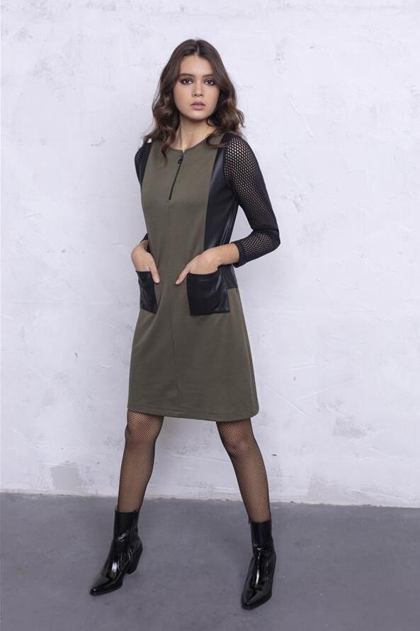 Maloka: My Olive Martini Faux Leather Pocket Dress (Few Left!) MK_PACEY