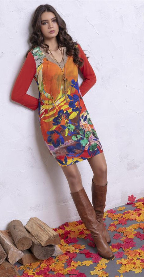 Maloka: Electric Blue Blooms Fitted Dress/Tunic MK_ANICA