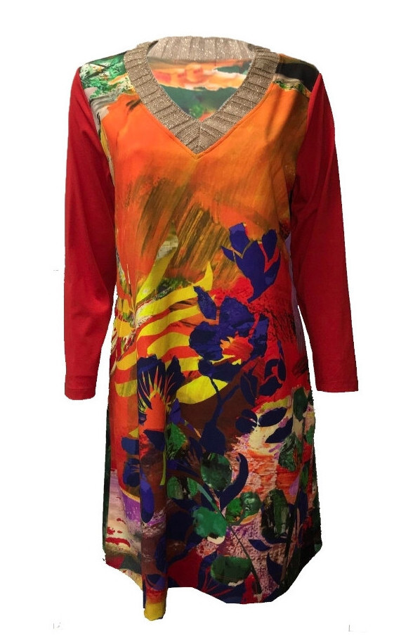 Maloka: Electric Blue Blooms Fitted Dress/Tunic