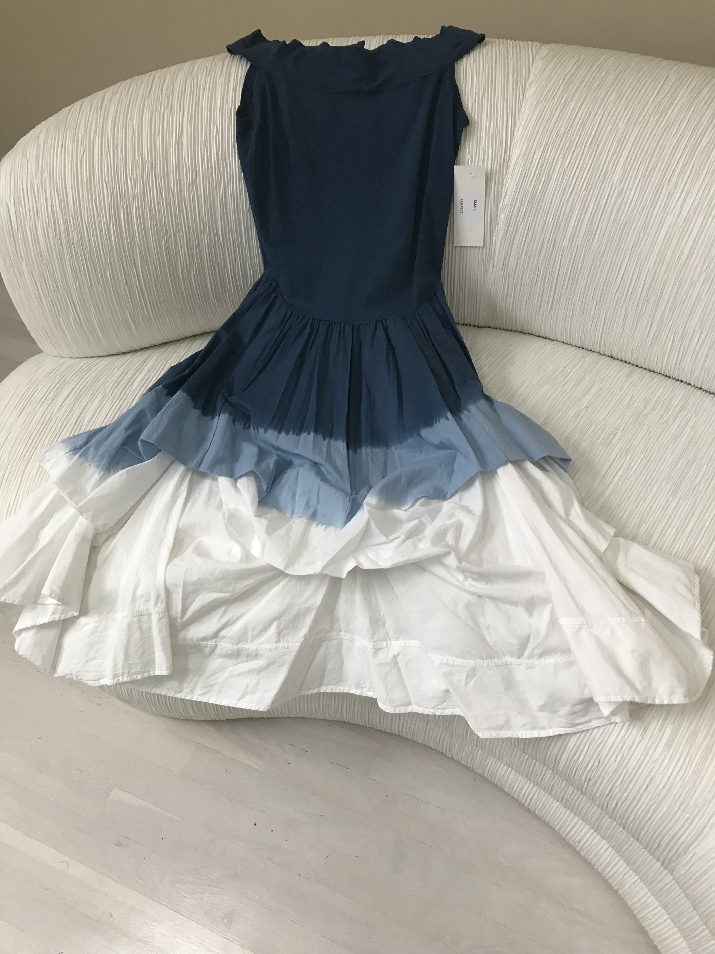 Luna Luz: Sleeveless Tied and Dyed Ombre Dress (Ships Immed in Navy Ombre, 1 Left!) LL_493T_NAVYOMBRE