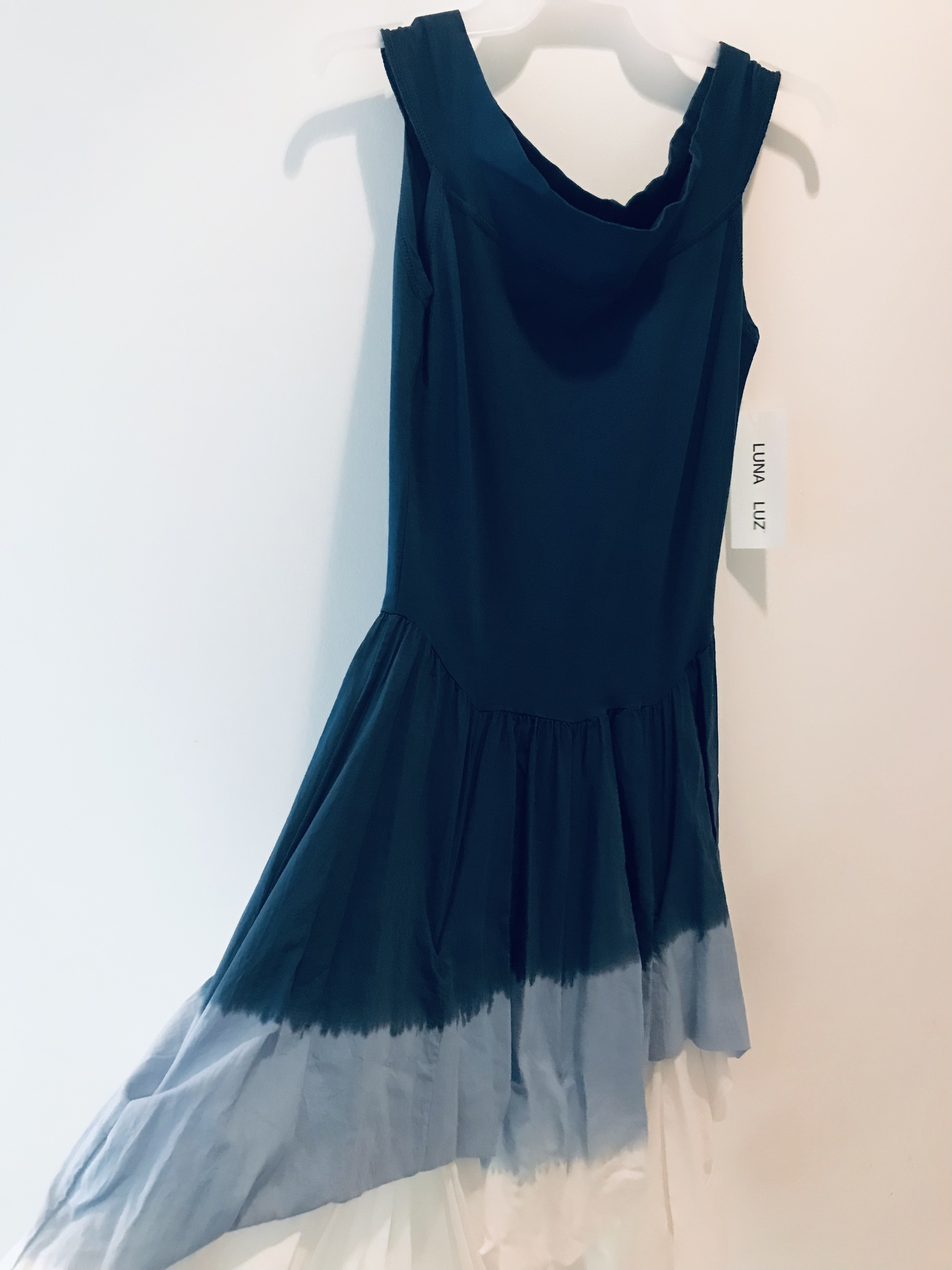 Luna Luz: Sleeveless Tied and Dyed Ombre Dress (Ships Immed in Navy Ombre, 1 Left!)