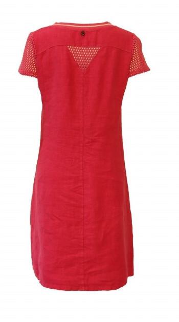 Maloka: Netted Short Sleeve Linen Dress (In Red!)
