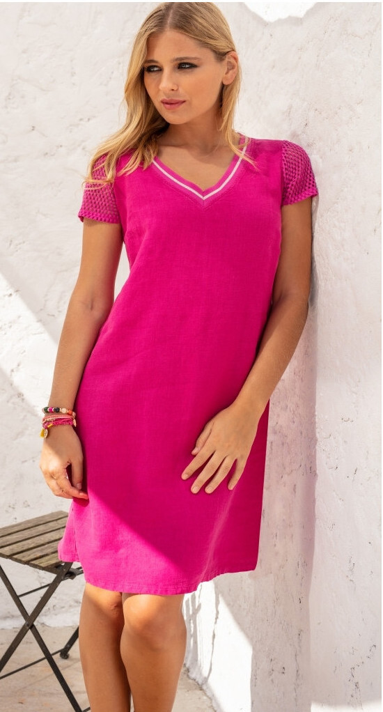 Maloka: Netted Short Sleeve Linen Dress (In Red!) MK_RAESSA_RED
