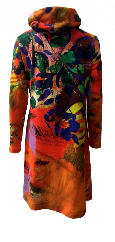 Maloka: Electric Blue Blooms Flared Tricot Sweater Dress